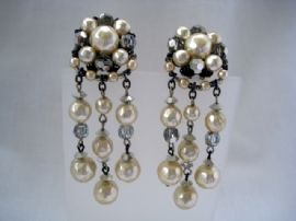 Faux Pearl and Smoke Grey Crystal Earclips
